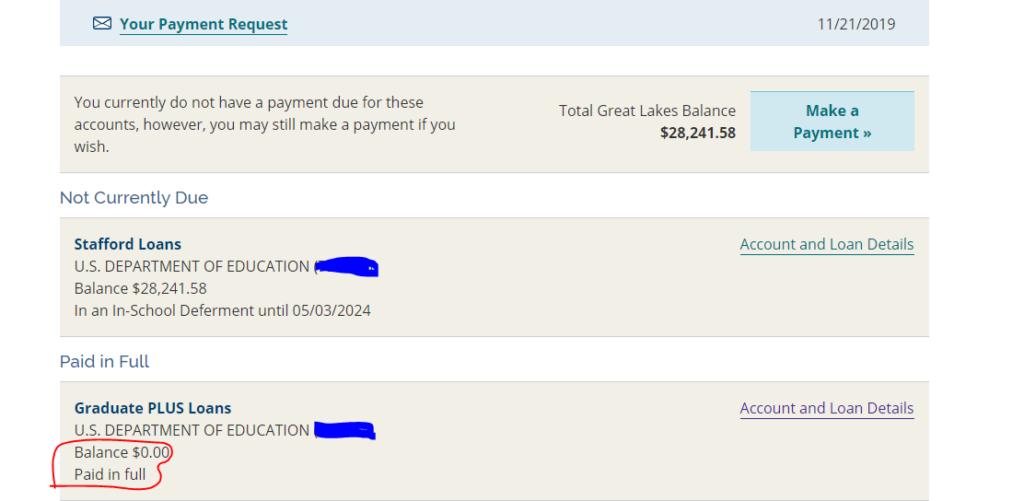 Great Lakes student loans dashboard paid 2020