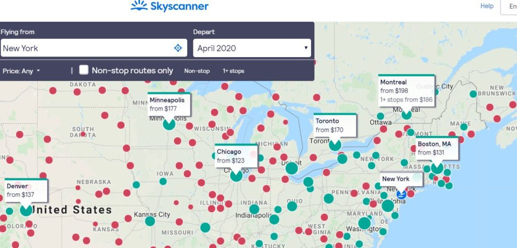 Skyscanner map tool