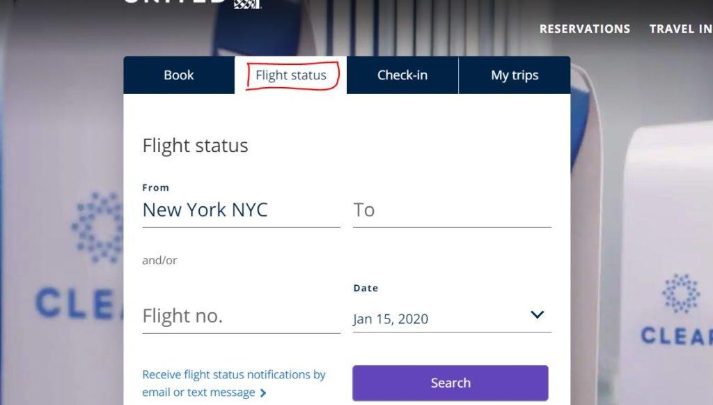 United Airlines flight status