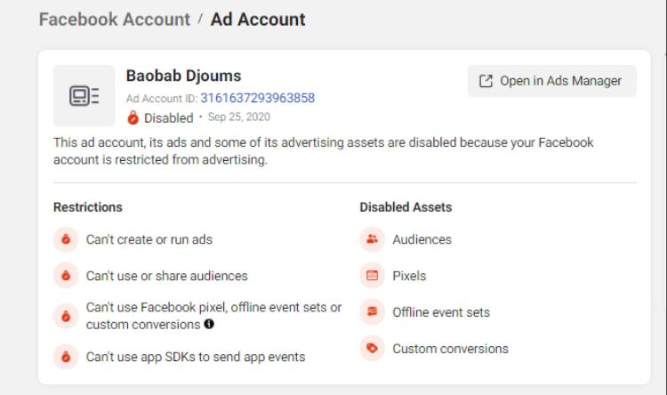 Facebook ad account disabled 2 - solution