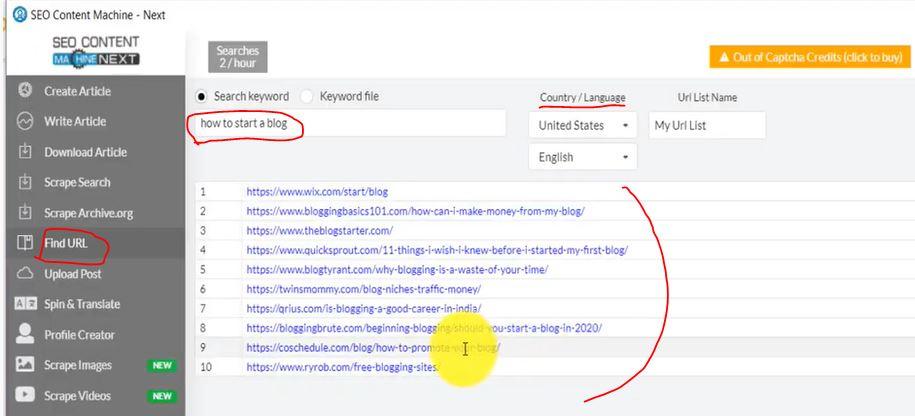 SEO content Machine Article URL finder