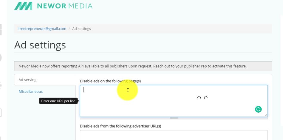 Disable ads on some pages