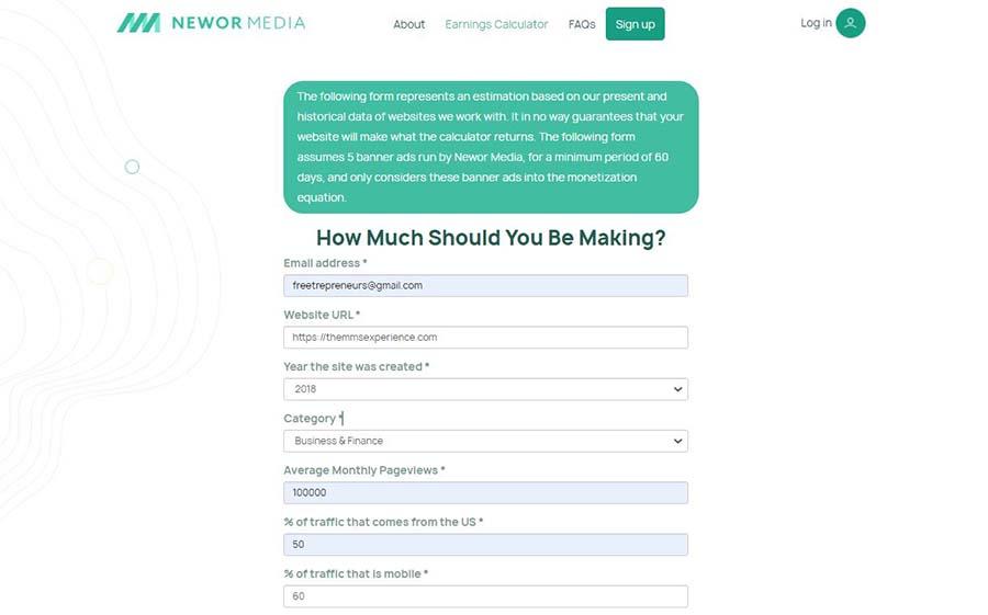 Newor Media revenue - earnings calculator