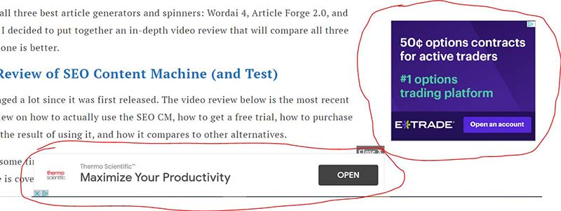 newor media ads example - best adsense alternative